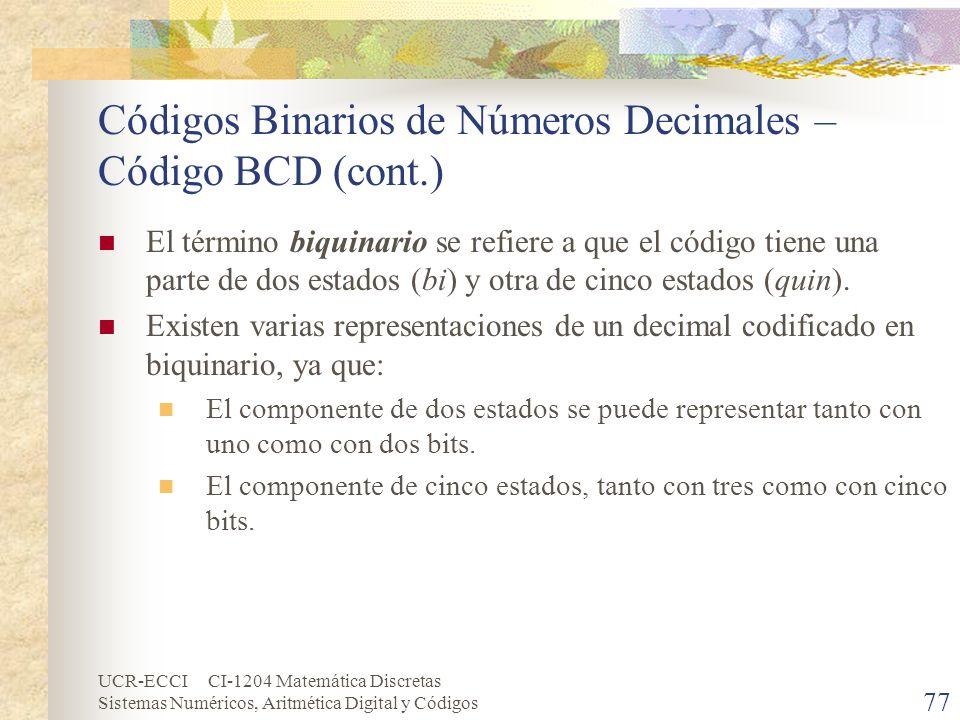 UCR-ECCI CI-1204 Matemática Discretas Sistemas Numéricos, Aritmética Digital y Códigos Códigos Binarios de Números Decimales – Código BCD (cont.) El t
