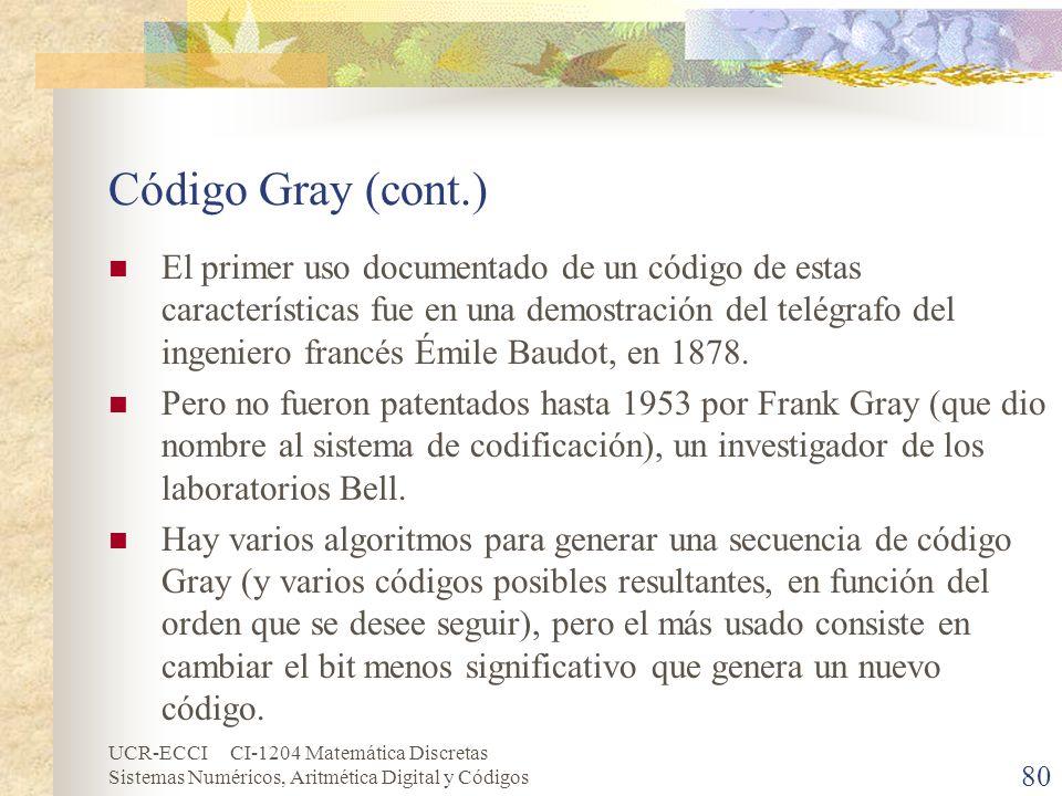 UCR-ECCI CI-1204 Matemática Discretas Sistemas Numéricos, Aritmética Digital y Códigos Código Gray (cont.) El primer uso documentado de un código de e
