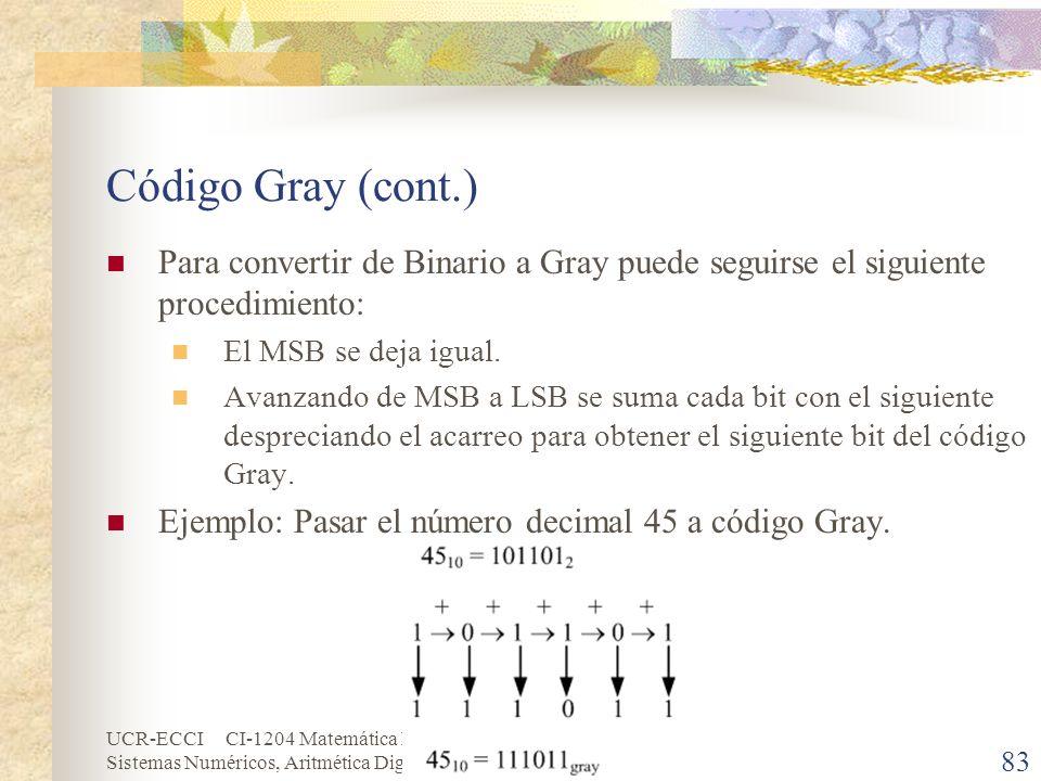 UCR-ECCI CI-1204 Matemática Discretas Sistemas Numéricos, Aritmética Digital y Códigos Código Gray (cont.) Para convertir de Binario a Gray puede segu