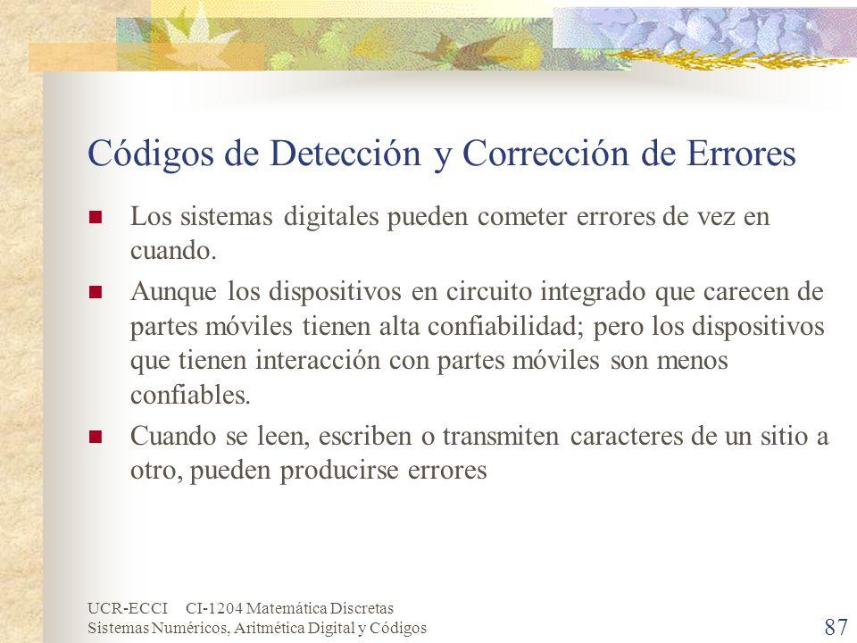 UCR-ECCI CI-1204 Matemática Discretas Sistemas Numéricos, Aritmética Digital y Códigos Códigos de Detección y Corrección de Errores Los sistemas digit