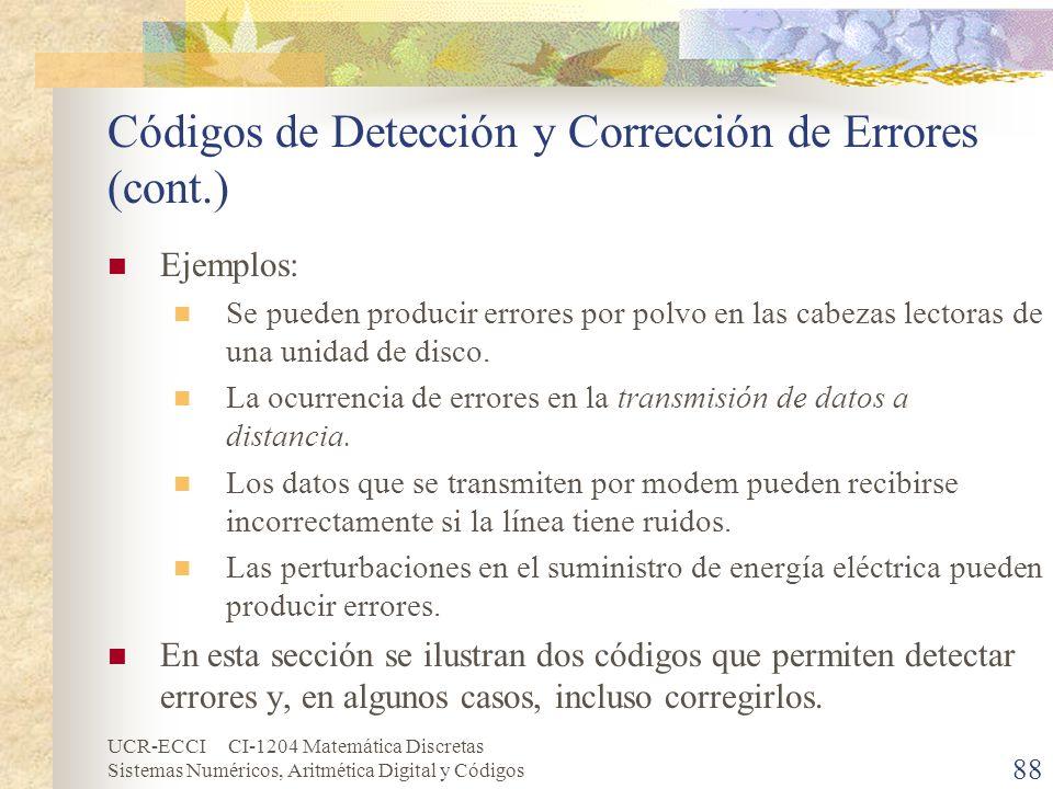 UCR-ECCI CI-1204 Matemática Discretas Sistemas Numéricos, Aritmética Digital y Códigos Códigos de Detección y Corrección de Errores (cont.) Ejemplos: