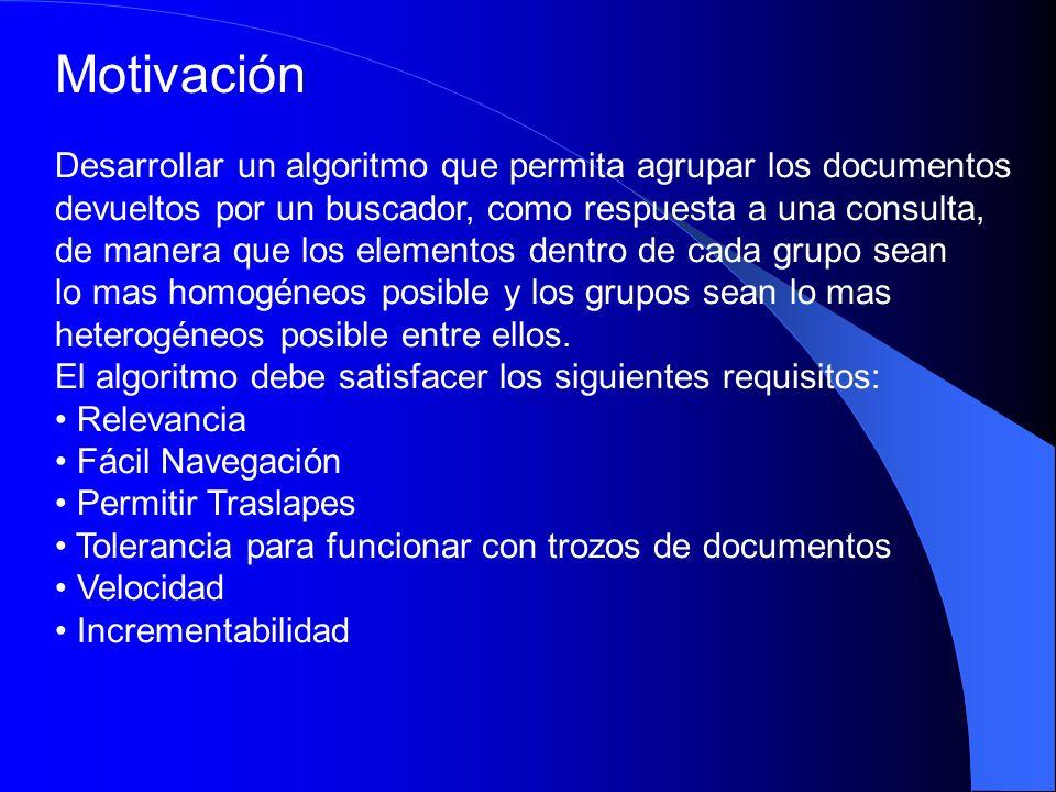 Trabajo previo sobre Clustering de Documentos Utilizado para mejorar la eficiencia de la búsqueda.