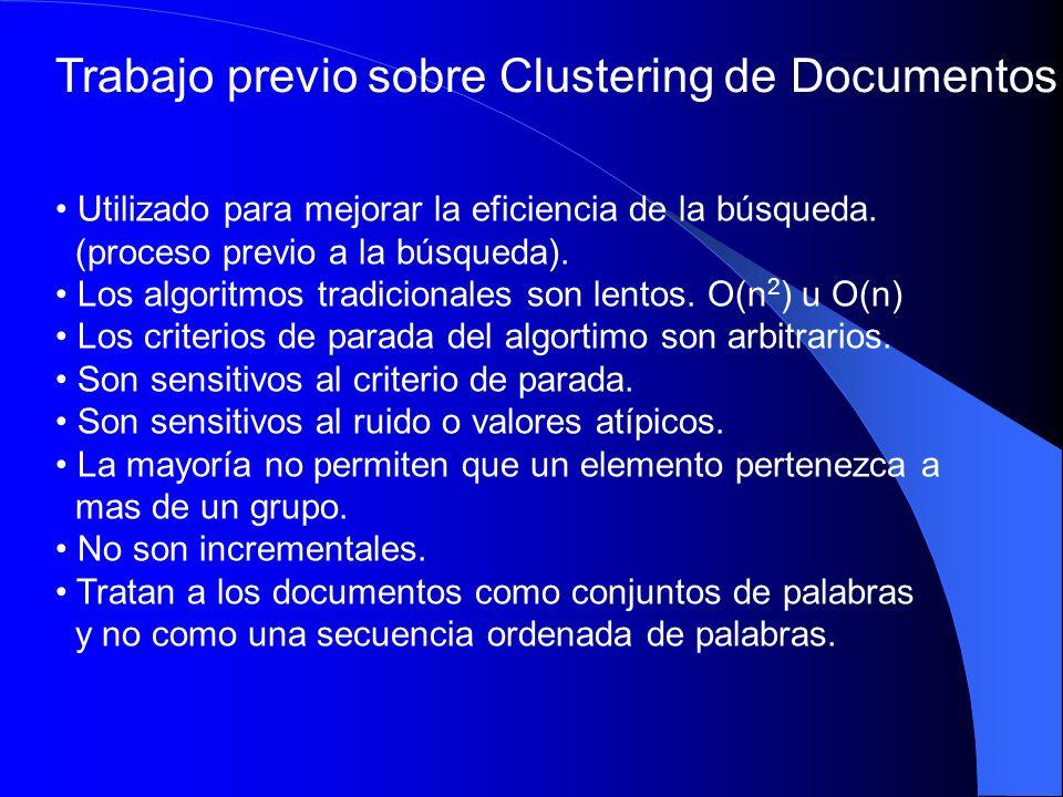 Suffix Tree Clustering un nuevo esquema Algoritmo de clustering con desempeño de tiempo lineal O(n) Identifica frases comunes a los documentos Trata a los documentos como frases o strings Incremental Utiliza un árbol de sufijos como estructura de datos base.