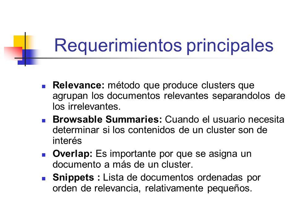 Ejemplo # 1 Compartir frases en un clustering es una forma de resumir su contenido.