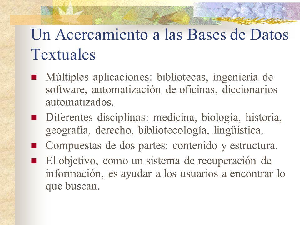 Un Acercamiento a las Bases de Datos Textuales Múltiples aplicaciones: bibliotecas, ingeniería de software, automatización de oficinas, diccionarios a
