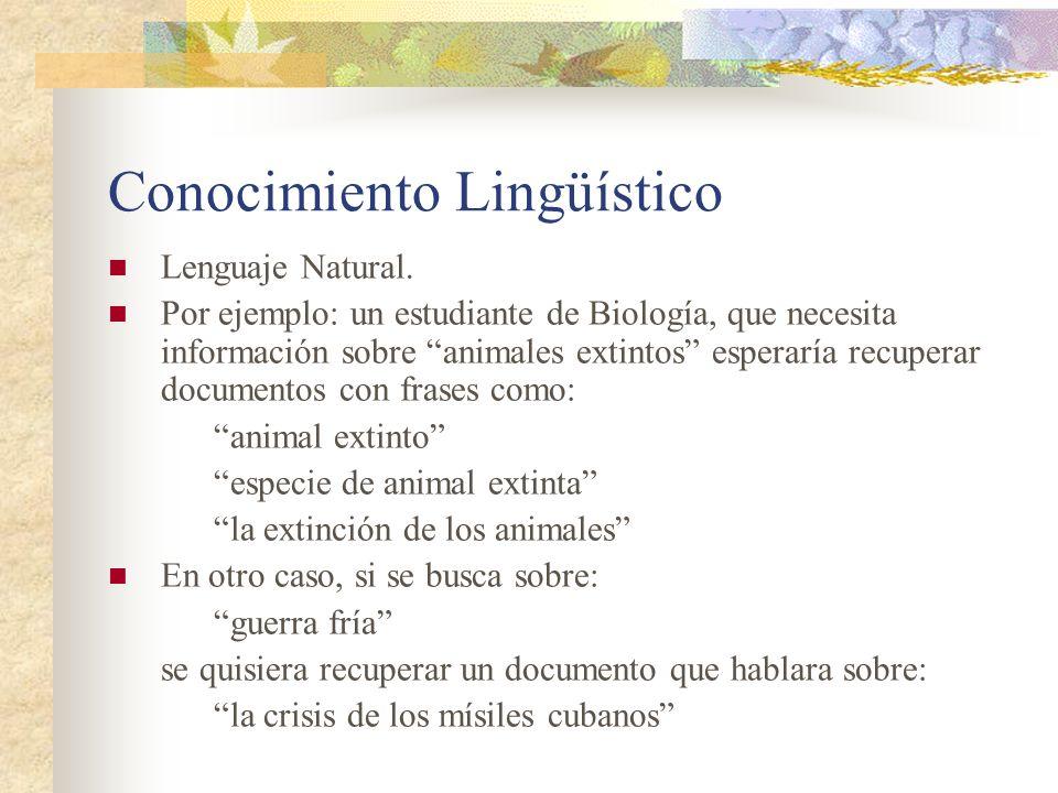 Conocimiento Lingüístico Lenguaje Natural. Por ejemplo: un estudiante de Biología, que necesita información sobre animales extintos esperaría recupera