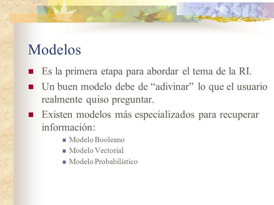 Modelos Es la primera etapa para abordar el tema de la RI. Un buen modelo debe de adivinar lo que el usuario realmente quiso preguntar. Existen modelo