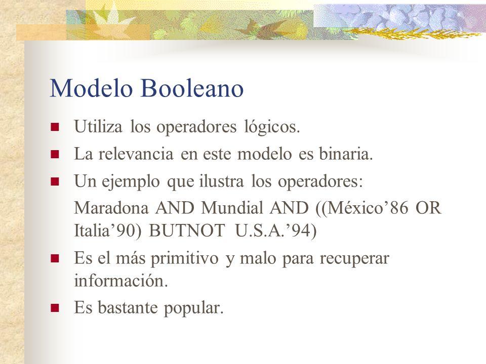Modelo Booleano Utiliza los operadores lógicos. La relevancia en este modelo es binaria. Un ejemplo que ilustra los operadores: Maradona AND Mundial A