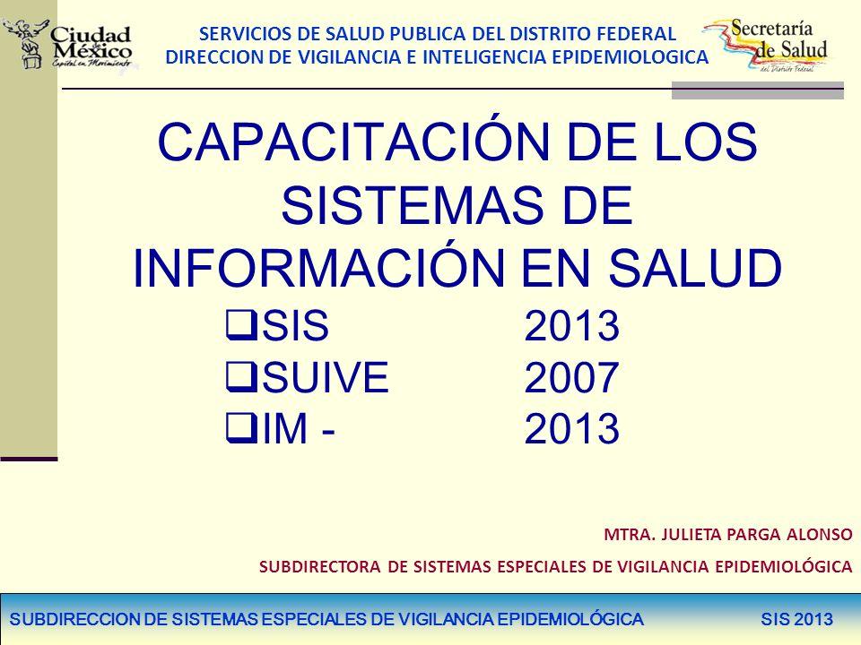 SERVICIOS DE SALUD PUBLICA DEL DISTRITO FEDERAL DIRECCION DE VIGILANCIA E INTELIGENCIA EPIDEMIOLOGICA FORMATOS INTEGRALES CON MODIFICACIÓN PLATAFORMA HOJA 21 DE 22PRE 13 - 16 HOJA 21 DE 22PRI 13 - 16 HOJA 21 DE 22SEC 13 - 16 HOJA 21 DE 22MES 01 - 08 HOJA 21 DE 22PPS 19 - 21 HOJA 21 DE 22PPS 28 HOJA 21 DE 22PPS 22 – 27 HOJA 22 DE 22PAE 114 POTENCIALES EVOCADOS AUDITIVOS DEL TALLO CEREBRAL HOJA 22 DE 22 HUE 08 Y 09 SE ELIMINAN HOJA 22 DE 22 HOS06 – 10 SE ELIMINAN SUBDIRECCION DE SISTEMAS ESPECIALES DE VIGILANCIA EPIDEMIOLÓGICA SIS 2013