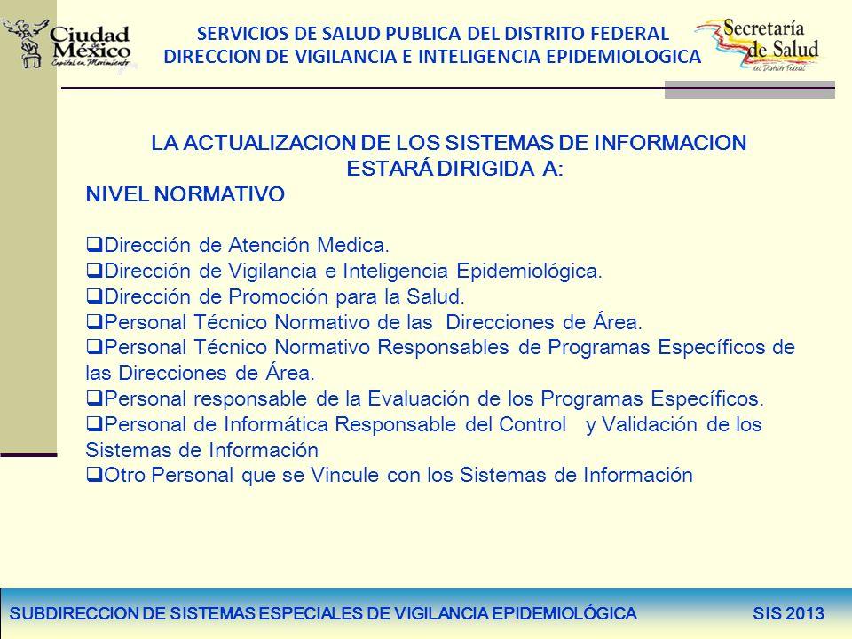 SERVICIOS DE SALUD PUBLICA DEL DISTRITO FEDERAL DIRECCION DE VIGILANCIA E INTELIGENCIA EPIDEMIOLOGICA LA ACTUALIZACION DE LOS SISTEMAS DE INFORMACION