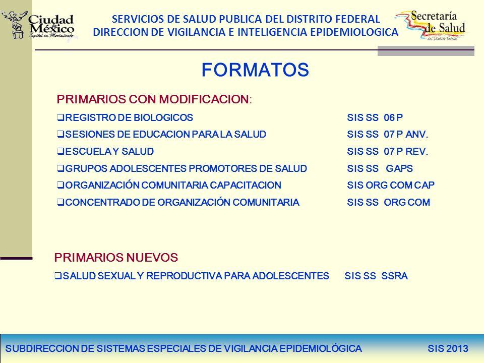 SERVICIOS DE SALUD PUBLICA DEL DISTRITO FEDERAL DIRECCION DE VIGILANCIA E INTELIGENCIA EPIDEMIOLOGICA FORMATOS PRIMARIOS CON MODIFICACION: REGISTRO DE