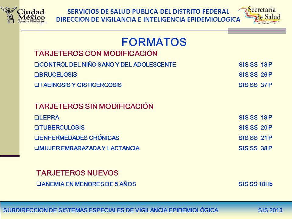 SERVICIOS DE SALUD PUBLICA DEL DISTRITO FEDERAL DIRECCION DE VIGILANCIA E INTELIGENCIA EPIDEMIOLOGICA FORMATOS TARJETEROS CON MODIFICACIÓN CONTROL DEL
