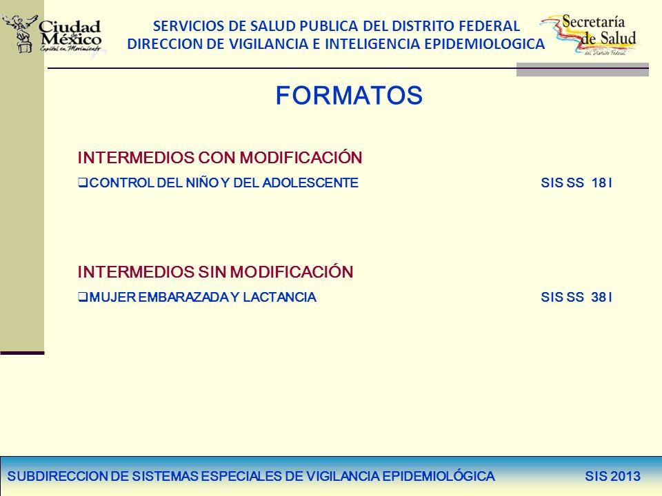 SERVICIOS DE SALUD PUBLICA DEL DISTRITO FEDERAL DIRECCION DE VIGILANCIA E INTELIGENCIA EPIDEMIOLOGICA FORMATOS INTERMEDIOS CON MODIFICACIÓN CONTROL DE