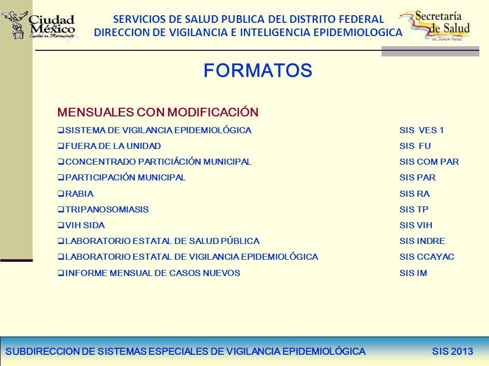 SERVICIOS DE SALUD PUBLICA DEL DISTRITO FEDERAL DIRECCION DE VIGILANCIA E INTELIGENCIA EPIDEMIOLOGICA FORMATOS MENSUALES CON MODIFICACIÓN SISTEMA DE V