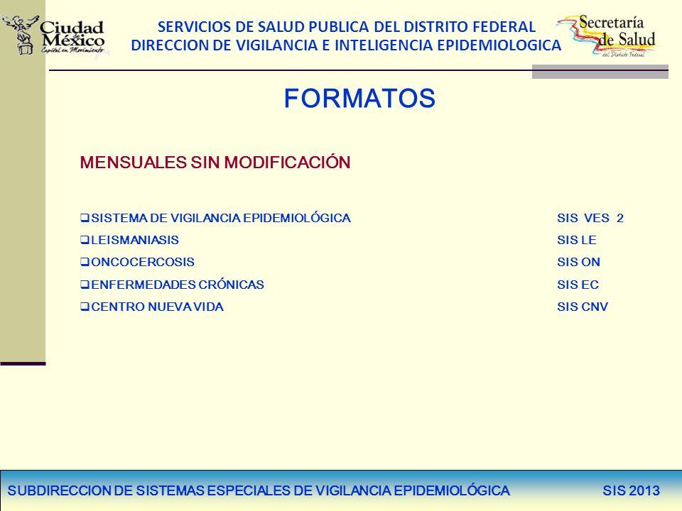 SERVICIOS DE SALUD PUBLICA DEL DISTRITO FEDERAL DIRECCION DE VIGILANCIA E INTELIGENCIA EPIDEMIOLOGICA FORMATOS MENSUALES SIN MODIFICACIÓN SISTEMA DE V