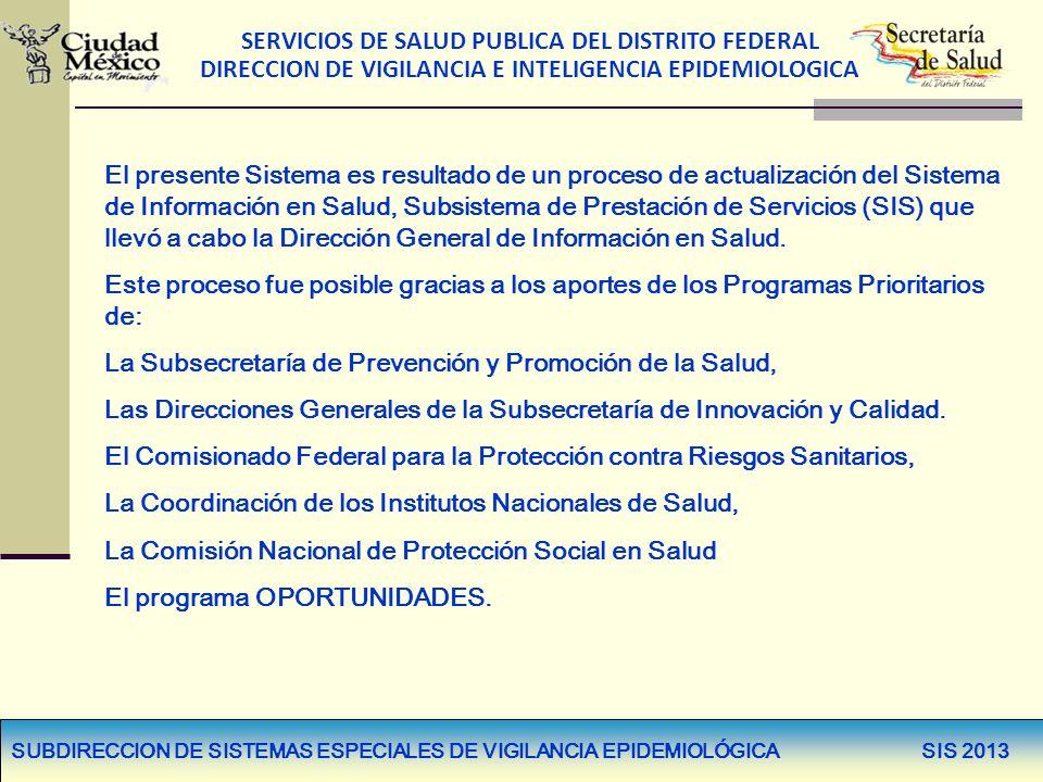 SERVICIOS DE SALUD PUBLICA DEL DISTRITO FEDERAL DIRECCION DE VIGILANCIA E INTELIGENCIA EPIDEMIOLOGICA SUBDIRECCION DE SISTEMAS ESPECIALES DE VIGILANCI