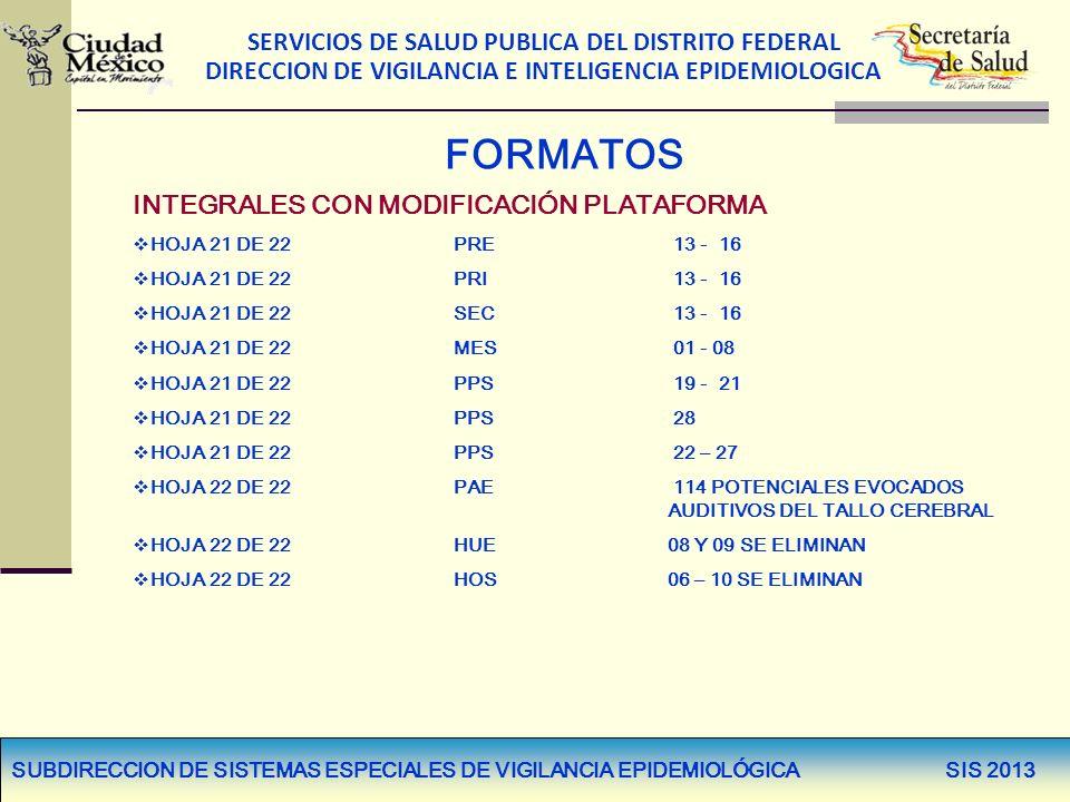 SERVICIOS DE SALUD PUBLICA DEL DISTRITO FEDERAL DIRECCION DE VIGILANCIA E INTELIGENCIA EPIDEMIOLOGICA FORMATOS INTEGRALES CON MODIFICACIÓN PLATAFORMA