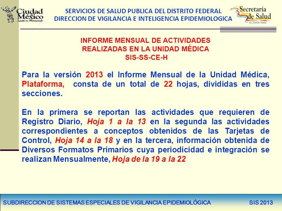 SERVICIOS DE SALUD PUBLICA DEL DISTRITO FEDERAL DIRECCION DE VIGILANCIA E INTELIGENCIA EPIDEMIOLOGICA INFORME MENSUAL DE ACTIVIDADES REALIZADAS EN LA
