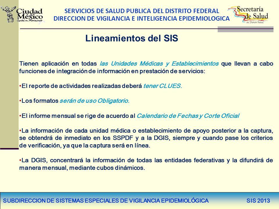 SERVICIOS DE SALUD PUBLICA DEL DISTRITO FEDERAL DIRECCION DE VIGILANCIA E INTELIGENCIA EPIDEMIOLOGICA Lineamientos del SIS Tienen aplicación en todas