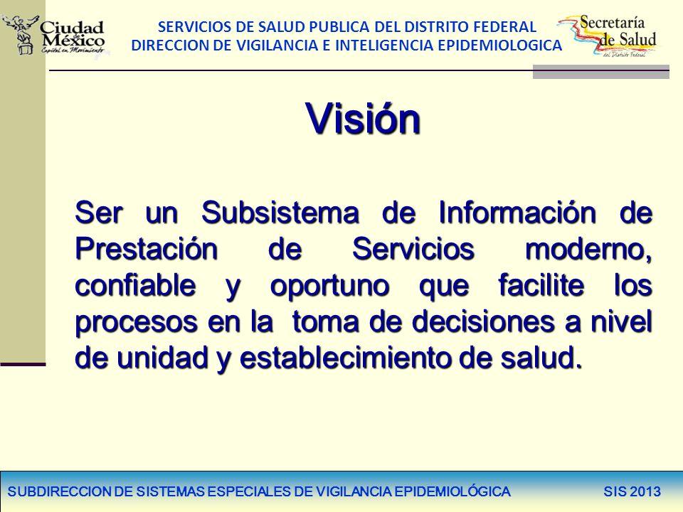 SERVICIOS DE SALUD PUBLICA DEL DISTRITO FEDERAL DIRECCION DE VIGILANCIA E INTELIGENCIA EPIDEMIOLOGICA Visión Ser un Subsistema de Información de Prest