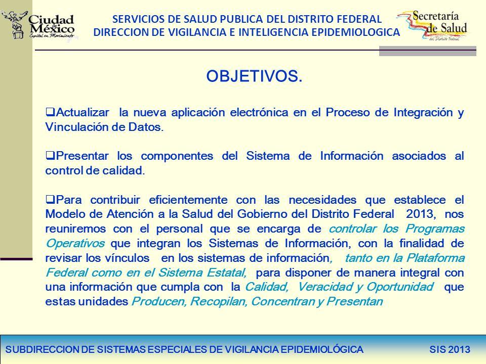 SERVICIOS DE SALUD PUBLICA DEL DISTRITO FEDERAL DIRECCION DE VIGILANCIA E INTELIGENCIA EPIDEMIOLOGICA OBJETIVOS. Actualizar la nueva aplicación electr