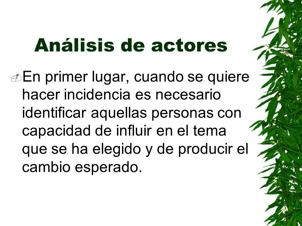 Análisis de actores En primer lugar, cuando se quiere hacer incidencia es necesario identificar aquellas personas con capacidad de influir en el tema