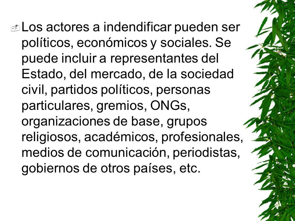 Los actores a indendificar pueden ser políticos, económicos y sociales. Se puede incluir a representantes del Estado, del mercado, de la sociedad civi