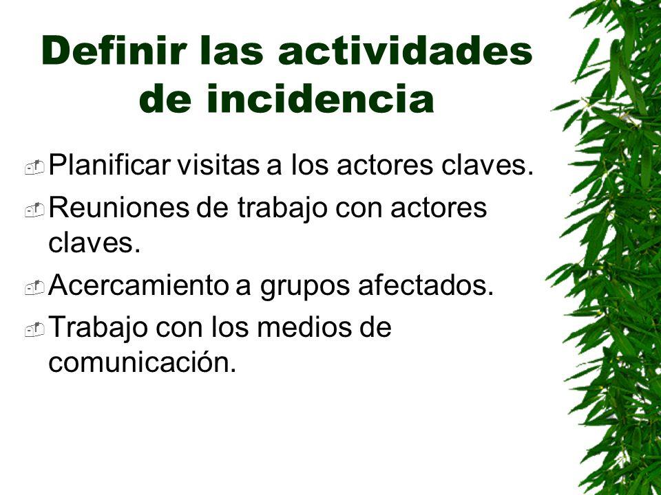 Definir las actividades de incidencia Planificar visitas a los actores claves. Reuniones de trabajo con actores claves. Acercamiento a grupos afectado