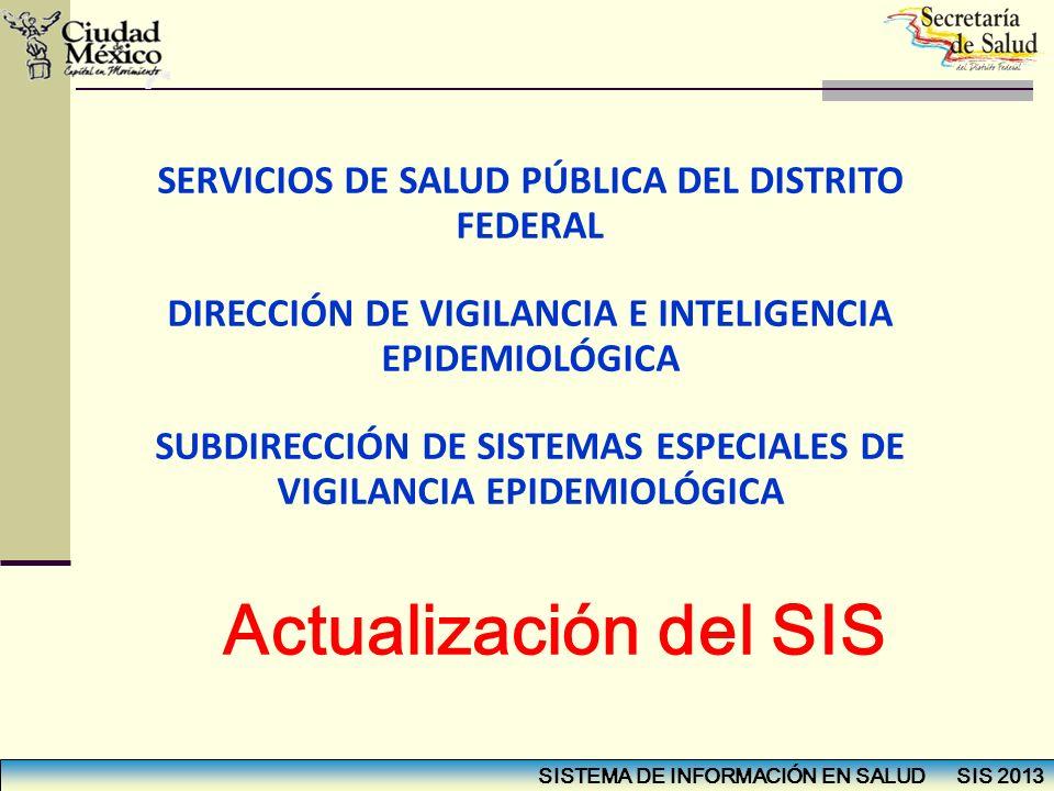SISTEMA DE INFORMACIÓN EN SALUD SIS 2013 SERVICIOS DE SALUD PÚBLICA DEL DISTRITO FEDERAL DIRECCIÓN DE VIGILANCIA E INTELIGENCIA EPIDEMIOLÓGICA SUBDIRE