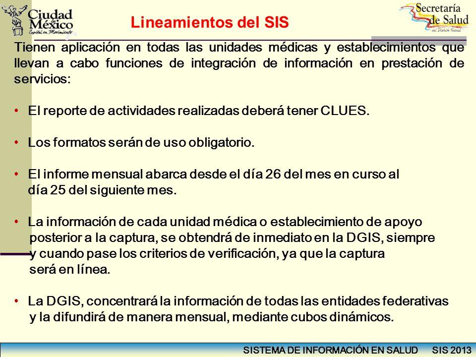SISTEMA DE INFORMACIÓN EN SALUD SIS 2013 Tienen aplicación en todas las unidades médicas y establecimientos que llevan a cabo funciones de integración