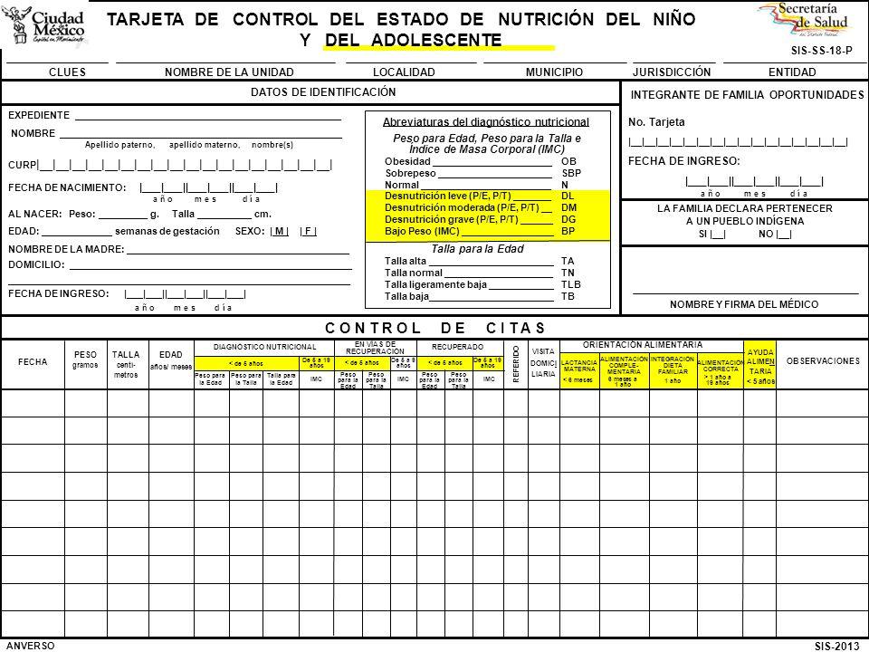 SIS-2013 SIS-SS-18-P TARJETA DE CONTROL DEL ESTADO DE NUTRICIÓN DEL NIÑO Y DEL ADOLESCENTE CLUESNOMBRE DE LA UNIDADMUNICIPIOJURISDICCIÓNENTIDADLOCALIDAD C O N T R O L D E C I T A S BAJA: MOTIVO Y FECHA ___________________________________________________________________________________ EXPEDIENTE ______________________________ NOMBRE ______________________________________ FECHA DE NACIMIENTO: |___|___||___|___||___|___| Apellido paterno, apellido materno, nombre(s) a ñ o m e s d í a REVERSO NOMBRE Y FIRMA DEL MÉDICO VISITA DOMICI LIARIA Talla para la Edad Peso para la Talla Peso para la Edad INTEGRACIÓN DIETA FAMILIAR ALIMENTACIÓN COMPLE- MENTARIA FECHA PESO gramos EDAD años/ meses TALLA centí- metros AYUDA ALIMEN TARIA < 5 años ORIENTACIÓN ALIMENTARIA DIAGNÓSTICO NUTRICIONAL LACTANCIA MATERNA OBSERVACIONES EN VÍAS DE RECUPERACIÓN RECUPERADO REFERIDO IMC Peso para la Talla Peso para la Edad IMC Peso para la Edad Peso para la Talla De 5 a 9 años ALIMENTACIÓN CORRECTA IMC < de 5 años De 5 a 19 años < de 5 años De 5 a 19 años < de 5 años < 6 meses 6 meses a 1 año 1 año > 1 año a 19 años