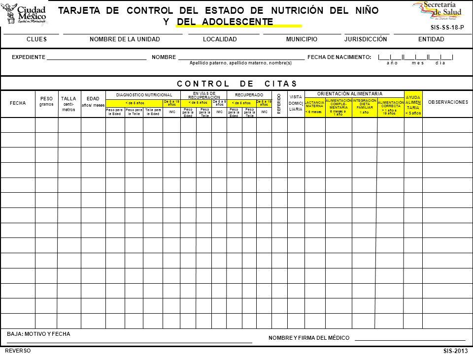 SIS-2013 SIS-SS-18-P TARJETA DE CONTROL DEL ESTADO DE NUTRICIÓN DEL NIÑO Y DEL ADOLESCENTE CLUESNOMBRE DE LA UNIDADMUNICIPIOJURISDICCIÓNENTIDADLOCALID