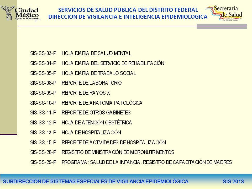 SERVICIOS DE SALUD PUBLICA DEL DISTRITO FEDERAL DIRECCION DE VIGILANCIA E INTELIGENCIA EPIDEMIOLOGICA SUBDIRECCION DE SISTEMAS ESPECIALES DE VIGILANCIA EPIDEMIOLÓGICA SIS 2013 FORMATOS PRIMARIOS SIN MODIFICACIÓN FORMATOS PRIMARIOS SIN MODIFICACIÓN