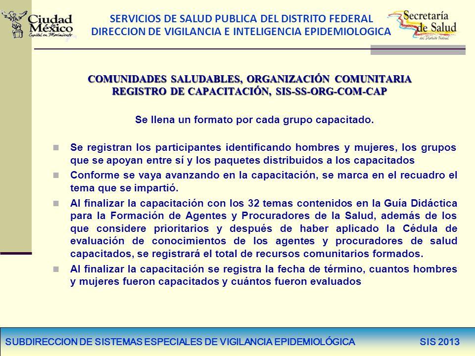 SERVICIOS DE SALUD PUBLICA DEL DISTRITO FEDERAL DIRECCION DE VIGILANCIA E INTELIGENCIA EPIDEMIOLOGICA SUBDIRECCION DE SISTEMAS ESPECIALES DE VIGILANCIA EPIDEMIOLÓGICA SIS 2013 COMUNIDADES SALUDABLES, ORGANIZACIÓN COMUNITARIA REGISTRO DE CAPACITACIÓN, SIS-SS-ORG-COM-CAP Se llena un formato por cada grupo capacitado.