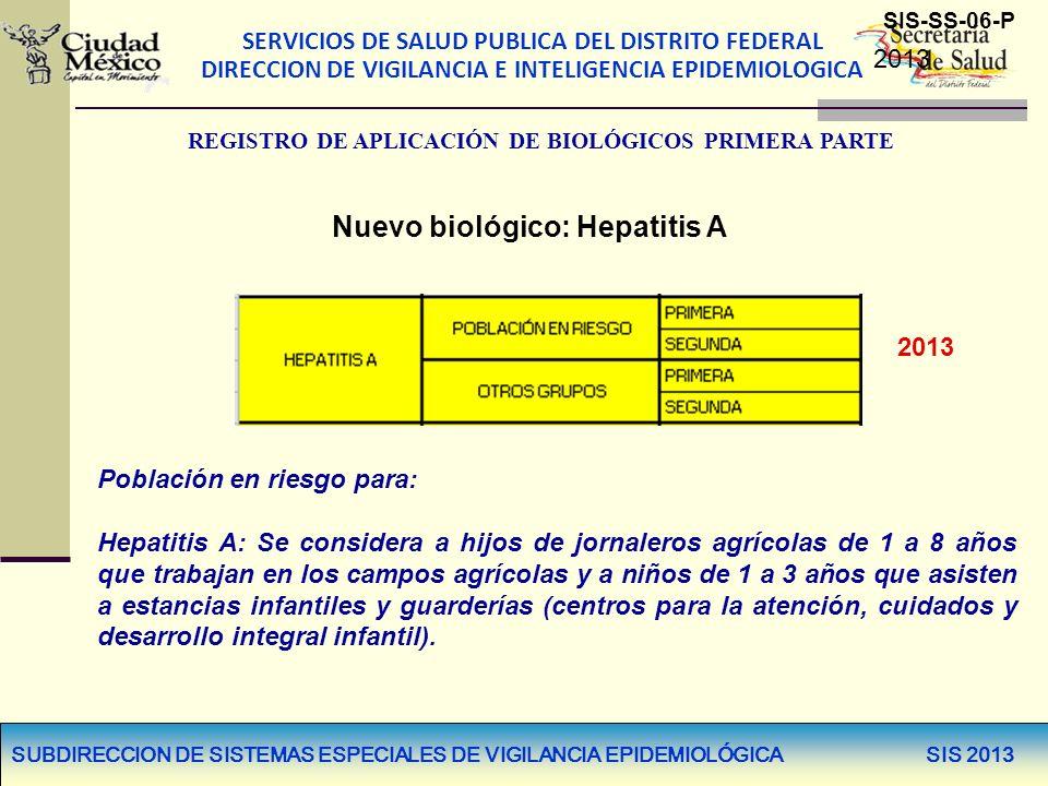 SERVICIOS DE SALUD PUBLICA DEL DISTRITO FEDERAL DIRECCION DE VIGILANCIA E INTELIGENCIA EPIDEMIOLOGICA SUBDIRECCION DE SISTEMAS ESPECIALES DE VIGILANCIA EPIDEMIOLÓGICA SIS 2013 2013 Población en riesgo para: Hepatitis A: Se considera a hijos de jornaleros agrícolas de 1 a 8 años que trabajan en los campos agrícolas y a niños de 1 a 3 años que asisten a estancias infantiles y guarderías (centros para la atención, cuidados y desarrollo integral infantil).