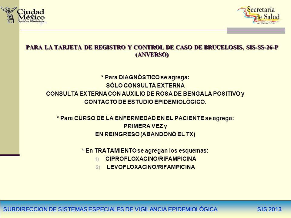 PARA LA TARJETA DE REGISTRO Y CONTROL DE CASO DE BRUCELOSIS, SIS-SS-26-P (ANVERSO) * Para DIAGNÒSTICO se agrega: SÓLO CONSULTA EXTERNA CONSULTA EXTERN