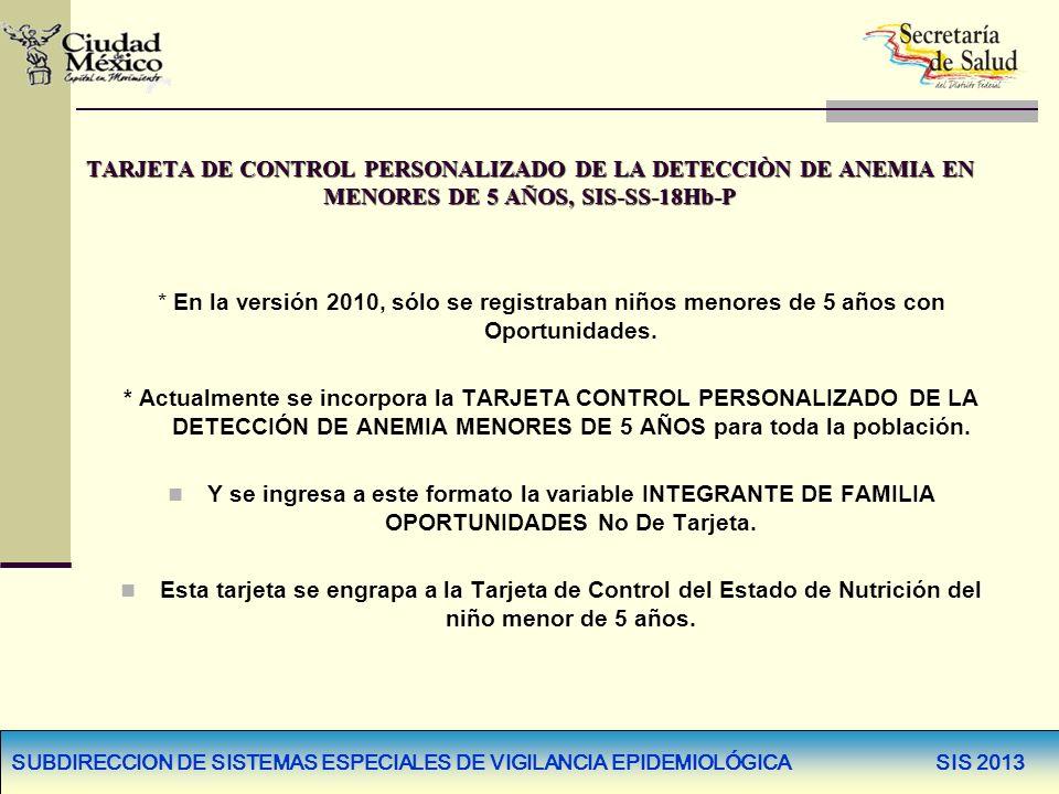 SUBDIRECCION DE SISTEMAS ESPECIALES DE VIGILANCIA EPIDEMIOLÓGICA SIS 2013 TARJETA DE CONTROL PERSONALIZADO DE LA DETECCIÒN DE ANEMIA EN MENORES DE 5 A