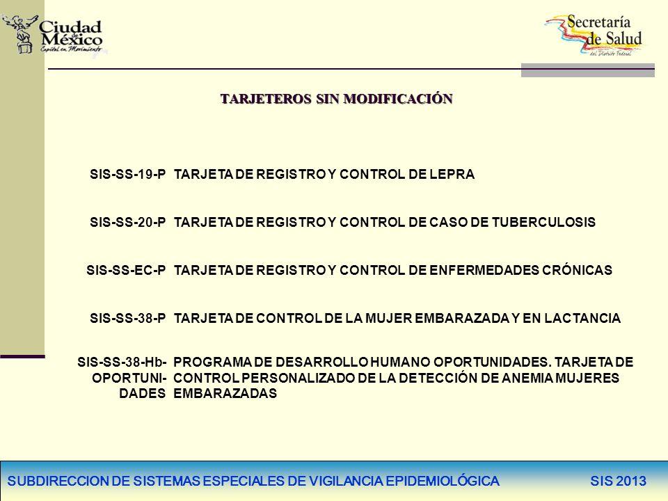 SUBDIRECCION DE SISTEMAS ESPECIALES DE VIGILANCIA EPIDEMIOLÓGICA SIS 2013 TARJETEROS SIN MODIFICACIÓN SIS-SS-19-PTARJETA DE REGISTRO Y CONTROL DE LEPR