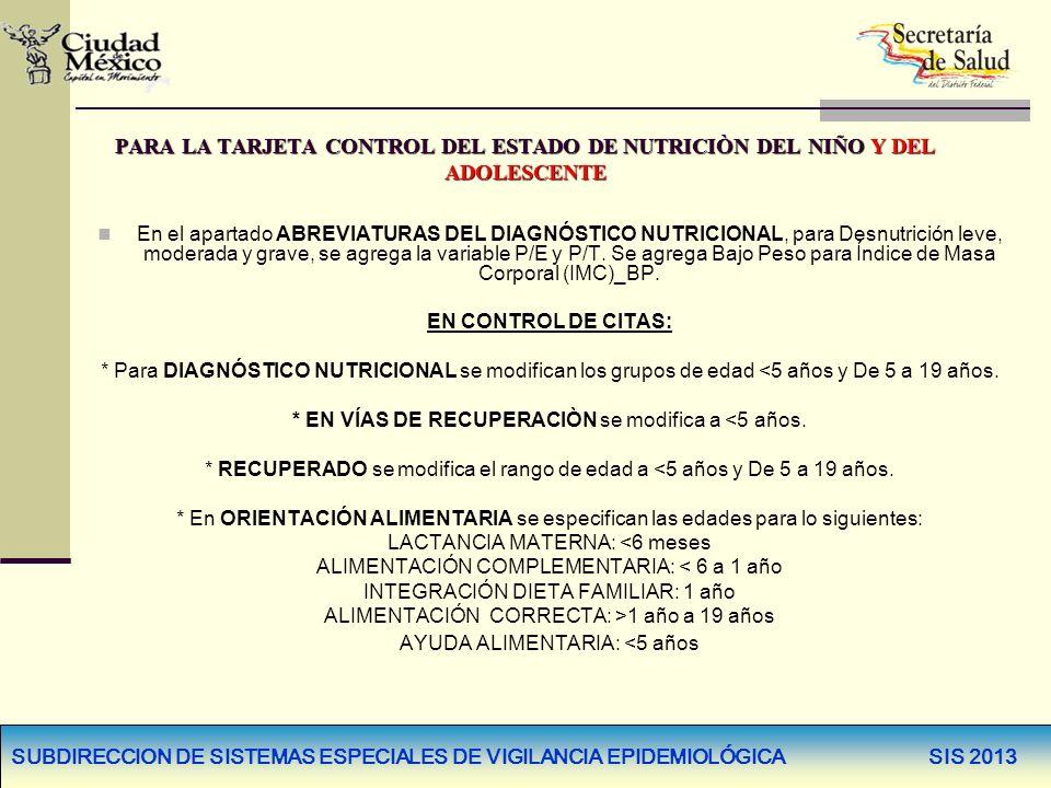 SUBDIRECCION DE SISTEMAS ESPECIALES DE VIGILANCIA EPIDEMIOLÓGICA SIS 2013 PARA LA TARJETA CONTROL DEL ESTADO DE NUTRICIÒN DEL NIÑO Y DEL ADOLESCENTE E