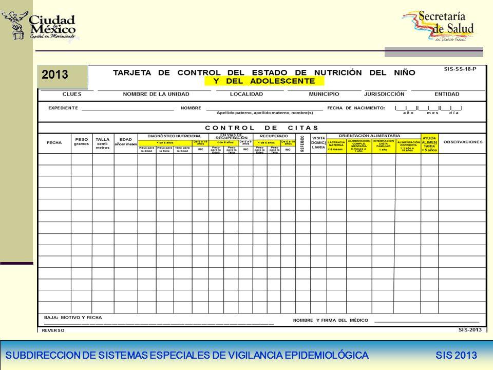 SUBDIRECCION DE SISTEMAS ESPECIALES DE VIGILANCIA EPIDEMIOLÓGICA SIS 2013 2013