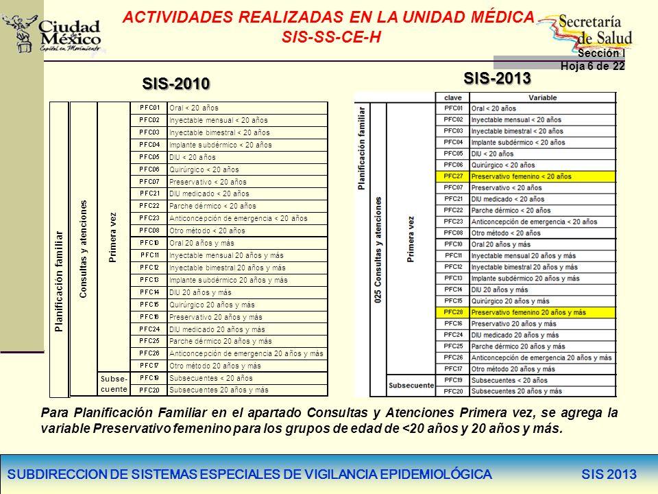 SUBDIRECCION DE SISTEMAS ESPECIALES DE VIGILANCIA EPIDEMIOLÓGICA SIS 2013 SIS-2010 SIS-2013 Para Planificación Familiar en el apartado Consultas y Ate