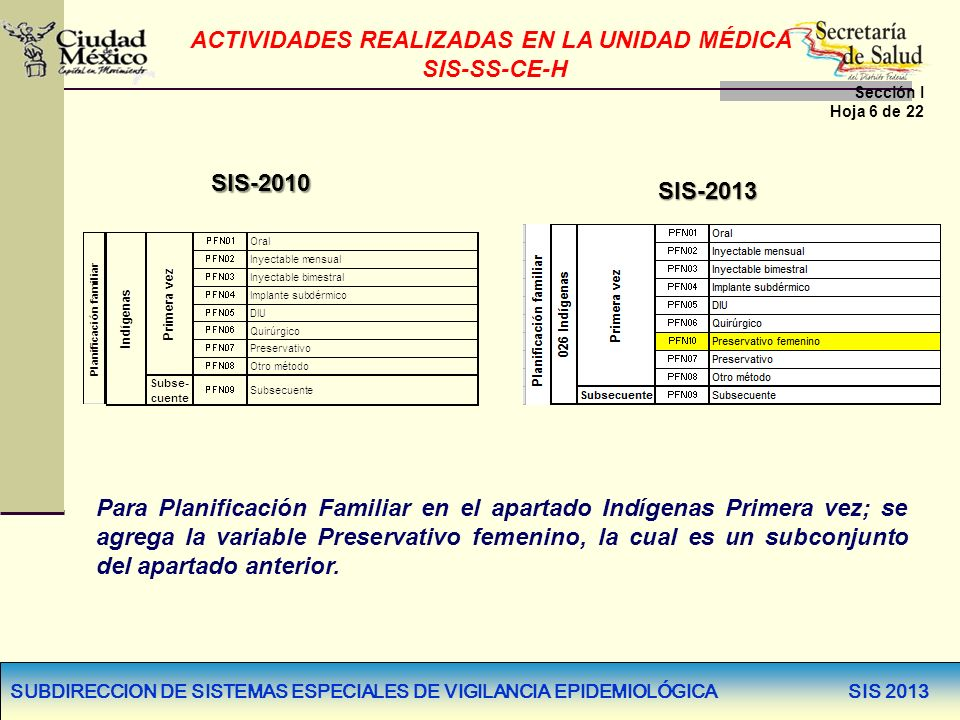 SUBDIRECCION DE SISTEMAS ESPECIALES DE VIGILANCIA EPIDEMIOLÓGICA SIS 2013 SIS-2010 SIS-2013 Para Planificación Familiar en el apartado Indígenas Prime
