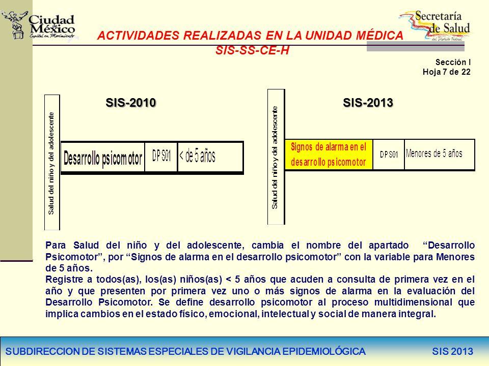 SUBDIRECCION DE SISTEMAS ESPECIALES DE VIGILANCIA EPIDEMIOLÓGICA SIS 2013 SIS-2010SIS-2013 Para Salud del niño y del adolescente, cambia el nombre del