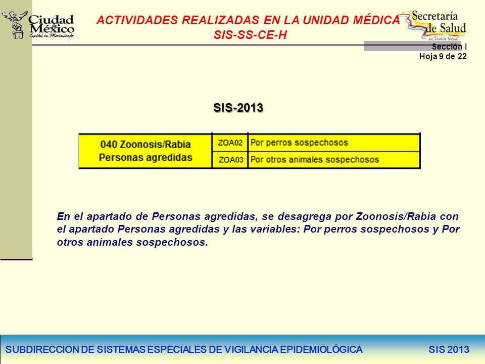 SUBDIRECCION DE SISTEMAS ESPECIALES DE VIGILANCIA EPIDEMIOLÓGICA SIS 2013 SIS-2013 En el apartado de Personas agredidas, se desagrega por Zoonosis/Rab