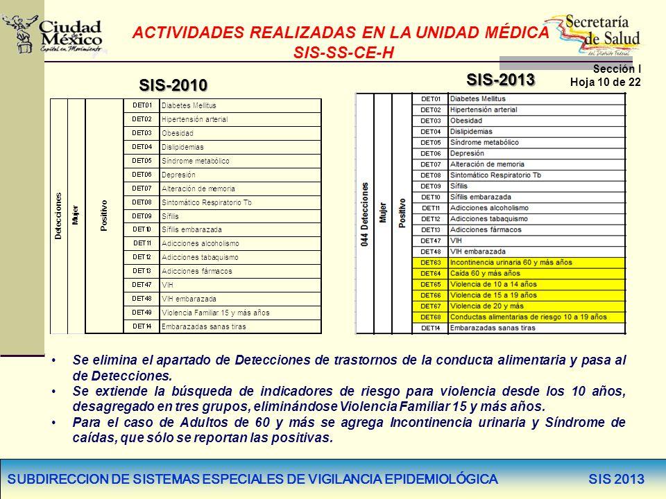 SUBDIRECCION DE SISTEMAS ESPECIALES DE VIGILANCIA EPIDEMIOLÓGICA SIS 2013 SIS-2010 SIS-2013 Se elimina el apartado de Detecciones de trastornos de la