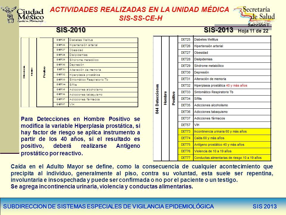 SUBDIRECCION DE SISTEMAS ESPECIALES DE VIGILANCIA EPIDEMIOLÓGICA SIS 2013 ACTIVIDADES REALIZADAS EN LA UNIDAD MÉDICA SIS-SS-CE-H Sección I Hoja 11 de