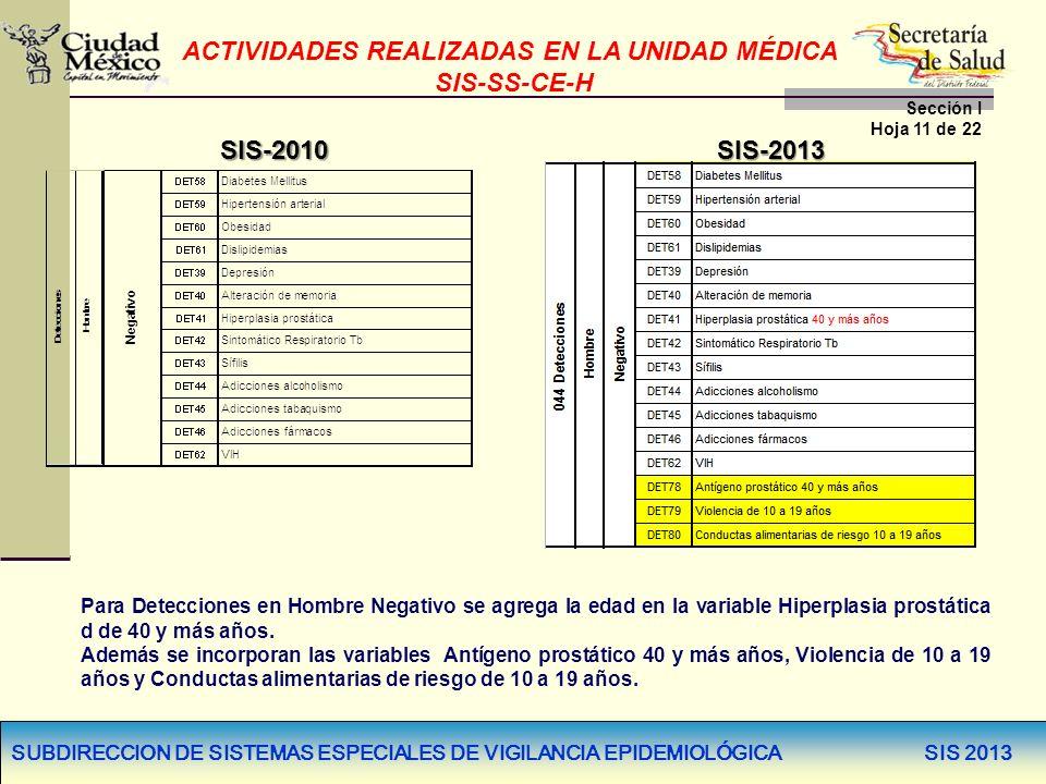 SUBDIRECCION DE SISTEMAS ESPECIALES DE VIGILANCIA EPIDEMIOLÓGICA SIS 2013 SIS-2010SIS-2013 Para Detecciones en Hombre Negativo se agrega la edad en la