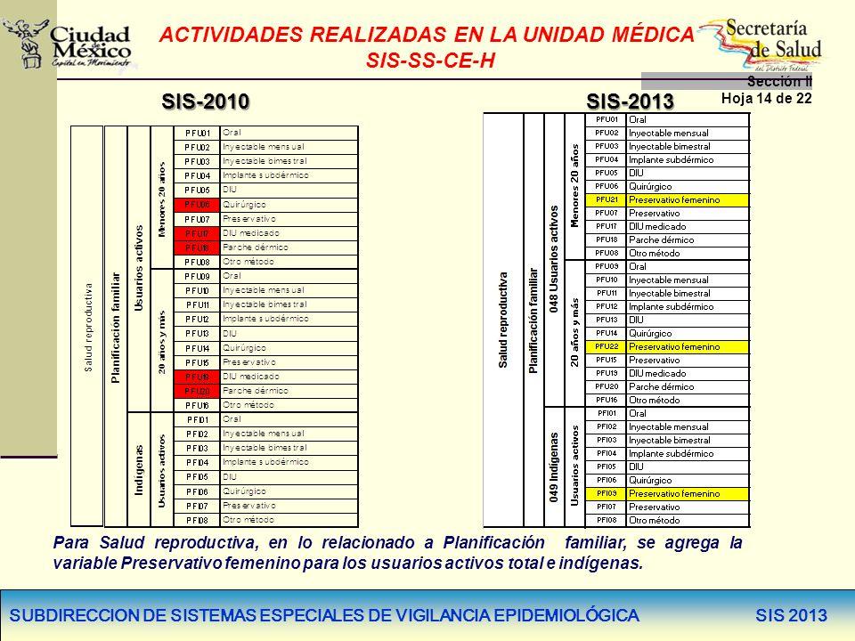 SUBDIRECCION DE SISTEMAS ESPECIALES DE VIGILANCIA EPIDEMIOLÓGICA SIS 2013 ACTIVIDADES REALIZADAS EN LA UNIDAD MÉDICA SIS-SS-CE-H Sección lI Hoja 14 de