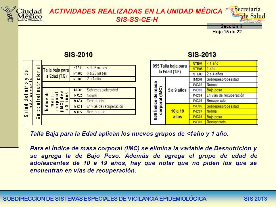 SUBDIRECCION DE SISTEMAS ESPECIALES DE VIGILANCIA EPIDEMIOLÓGICA SIS 2013 SIS-2010SIS-2013 Talla Baja para la Edad aplican los nuevos grupos de <1año