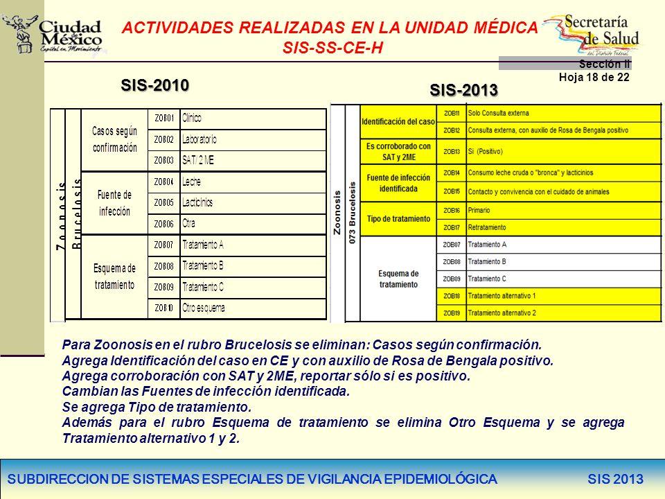 SUBDIRECCION DE SISTEMAS ESPECIALES DE VIGILANCIA EPIDEMIOLÓGICA SIS 2013 SIS-2013 SIS-2010 Para Zoonosis en el rubro Brucelosis se eliminan: Casos se